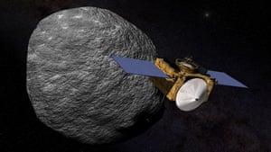 An impression of Nasa's Osiris-Rex spacecraft orbiting the asteroid Bennu.