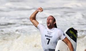 Owen Wright of Australia celebrates after winning bronze.