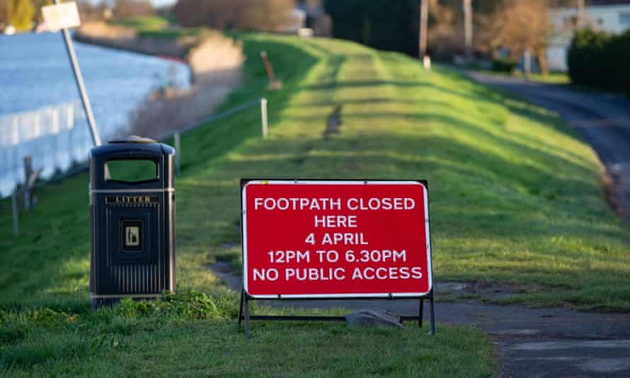 A notice proclaiming the footpath by the Ouse will be closed on 4 April from 12pm to 6.30pm