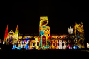 'The World Machine', telling the story of the 12th century birth of cosmology projected onto the facade of Durham Cathedral