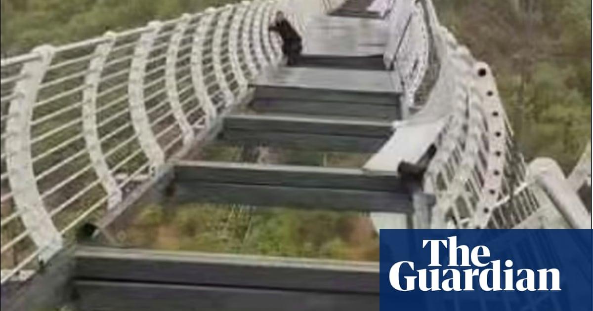 China tourist left clinging to 100m-high bridge after glass panels smash