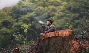 Sao Paulo, Brazil A Guarani Mbya man smokes a pipe next to a cut tree as he protests against real estate developer Tenda which plans to build apartment buildings next to his indigenous community's land.