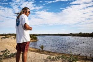 Tim Winton beside a mangrove lagoon in Exmouth Gulf.