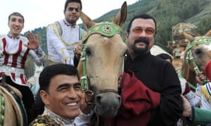 Steven Seagal, right, at World Nomad Games.
