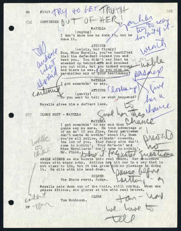 To Kill a Mockingbird (1962) página de guión, anotado por Gregory Peck de los Gregory Peck Papers, cortesía de la Biblioteca Margaret Herrick.
