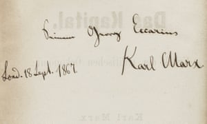 Karl Marx's signature in the book.