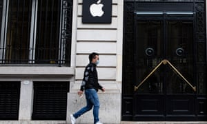 The Apple store in Paris, which is currently closed due to the coronavirus crisis.