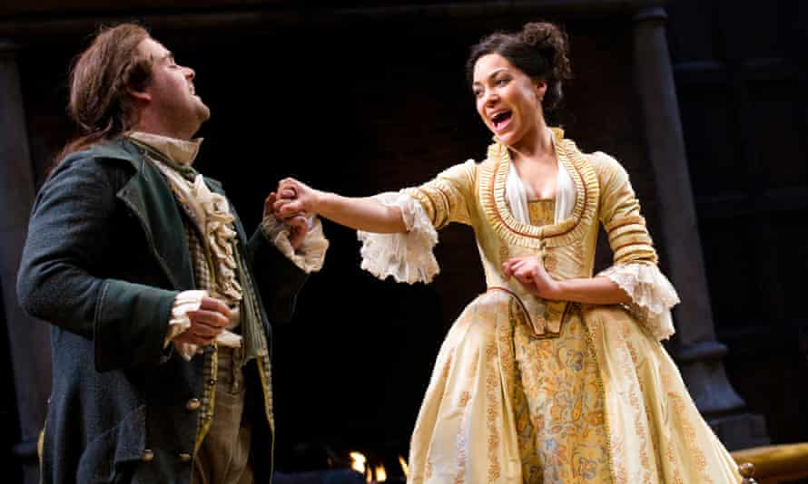 Cush Jumbo with David Fynn in She Stoops to Conquer at the National Theatre in 2012.