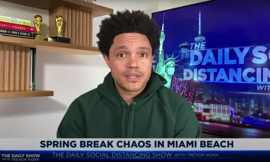 "Trevor Noah on maskless spring break parties in Miami Beach: ""This is what's gonna happen after Florida's governor called the state a 'freedom oasis.'"""