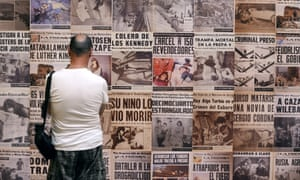 Disturbing … newspaper covers with photographs by Metinides at an exhibition in Arles, southern France.
