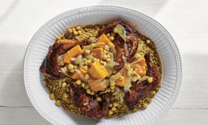 Maftool with butternut, chickpea and chicken stew.