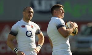 Owen Farrell, seen training with Mike Brown, is confident things will look up in Bloemfontein.