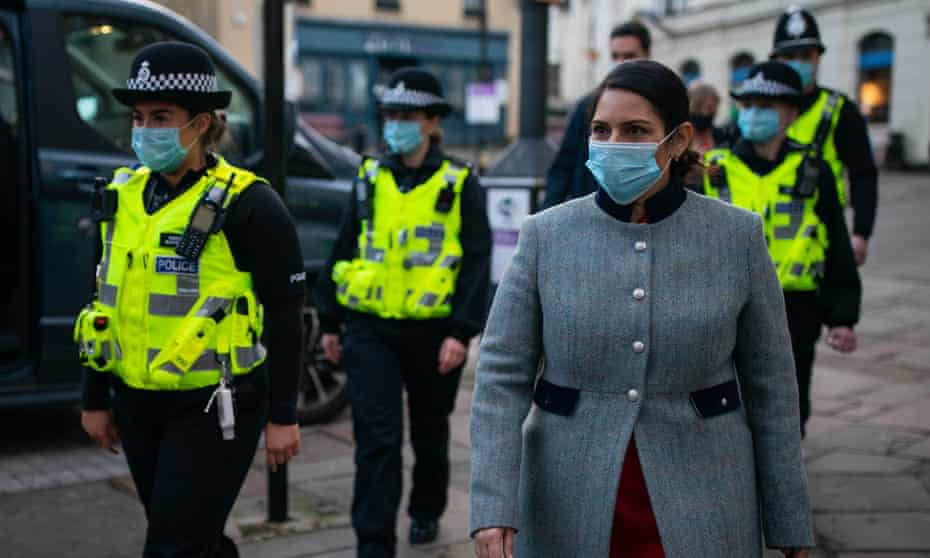 Priti Patel during a foot patrol with new police recruits around Bishop's Stortford, Hertfordshire, January 2021.