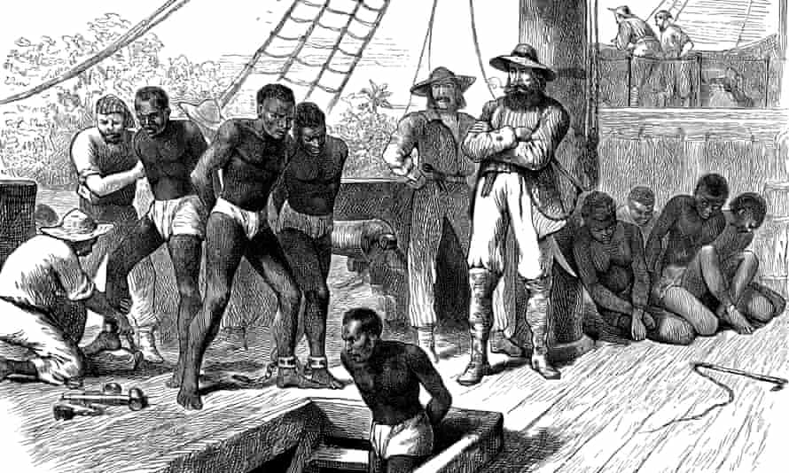 A 19th-century print of a slave ship