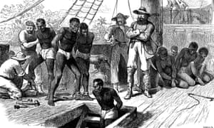 Captives being brought on board a slave ship on the west coast of Africa, circa 1880