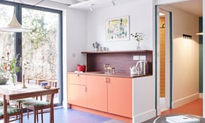 Bold colours and vintage furniture in the the one-bedroom cabin
