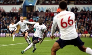 Liverpool's Sadio Mane celebrates scoring his side's second goal to give them the lead deep in injury time.