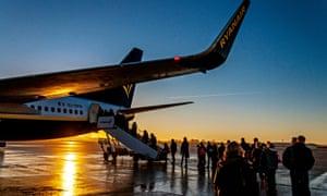 Passengers boarding a flight at Bristol airport