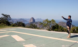 One of Rio's Special Forces takes time off for a selfie at the Dona Marta viewpoint