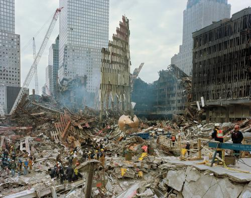 Rescue workers on the plaza, New York City, 2001