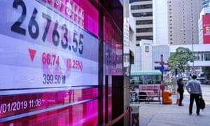An electronic board shows Hong Kong share index outside a local bank in Hong Kong, Wednesday