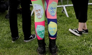 Tights worn at a campaign rally in Birmingham.
