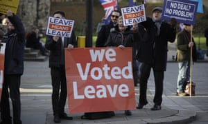 Pro-leave protesters in London
