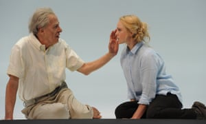 A photo showing Geoffrey Rush and Eryn Jean Norvill acting in Sydney Theatre Company's production of King Lear in November 2015 at the Roslyn Packer Theatre.