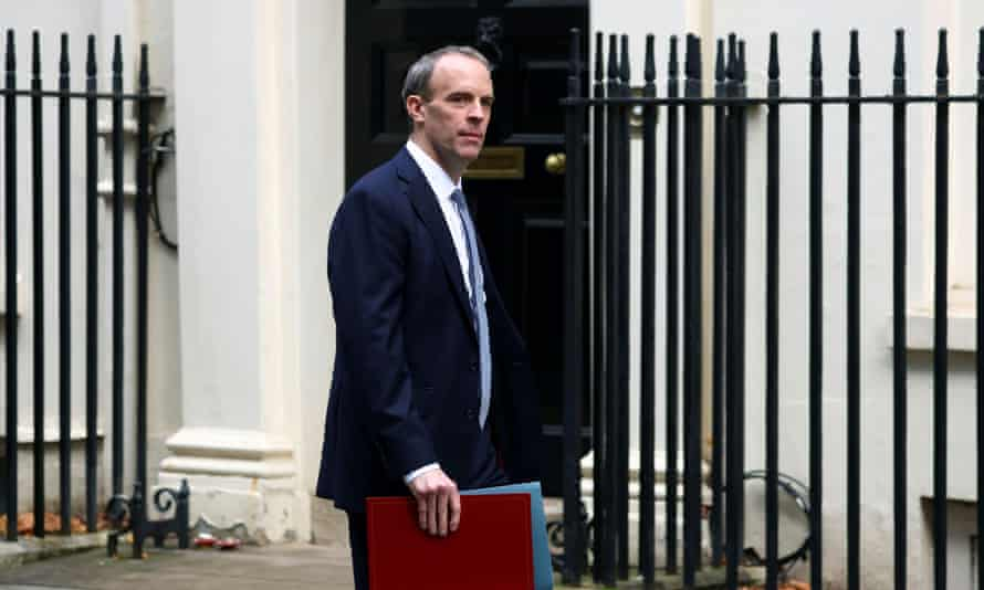 Britain's foreign secretary Dominic Raab says the UK is standing shoulder to shoulder with Australia in its rift with China.