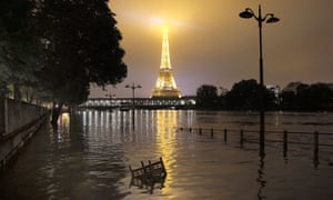 Apocalypse now? The flooded banks of the river Seine in front of the Eiffel tower in Paris.