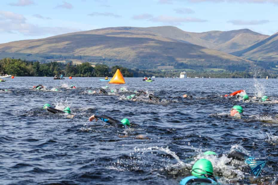 Swimmers on a Go Swim event in Loch Lomond, Scotland, UK.