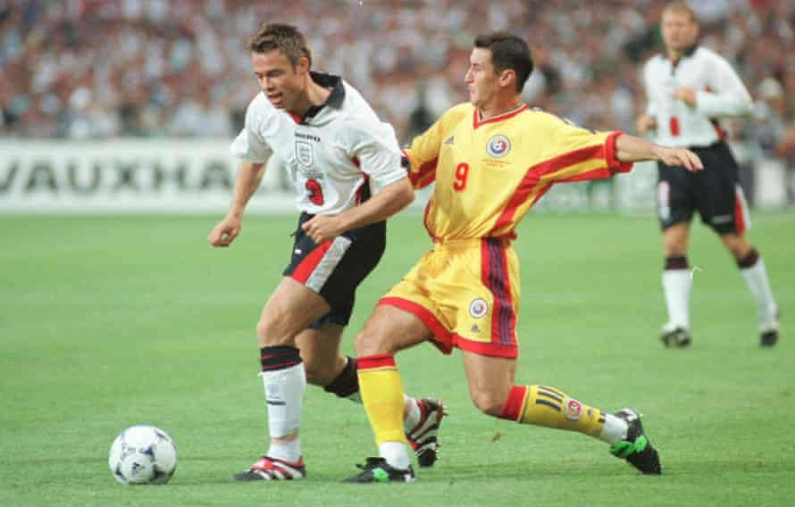 Graeme Le Saux in action for England against Romania at the 1998 World Cup.