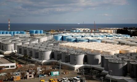 Storage tanks for radioactive water at the Fukushima Daiichi nuclear power plant.
