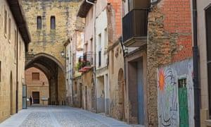 Narrow street in Santo Domingo de la Calzada, La Rioja, Spain