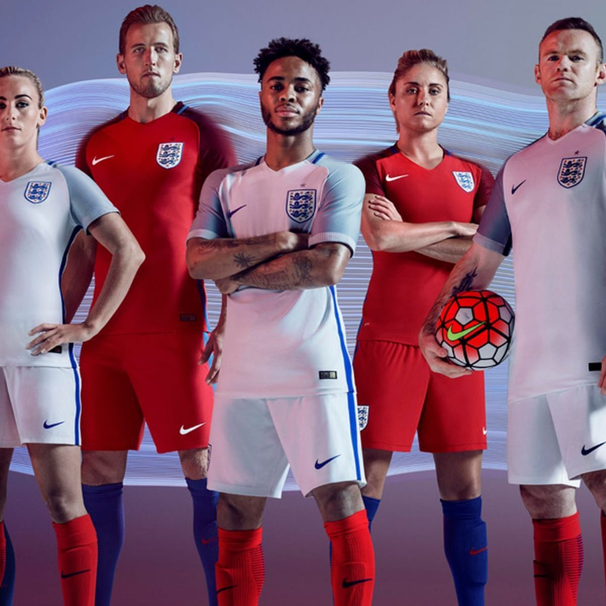 England Unveil New Nike Kit Design For Euro 2016 England The Guardian