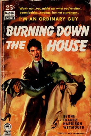 Burning Down the House by David Byrne and Talking Heads reinvented as a pulp fiction book cover by artist Todd Alcott.