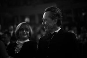 Richard E Grant sits with wife Joan Washington