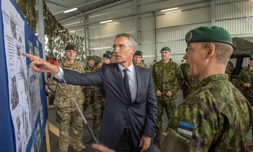 Secretary general Jens Stoltenberg visits Nato battle group soldiers at Tapa military base in Estonia