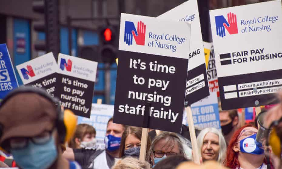NHS pay protest in London.