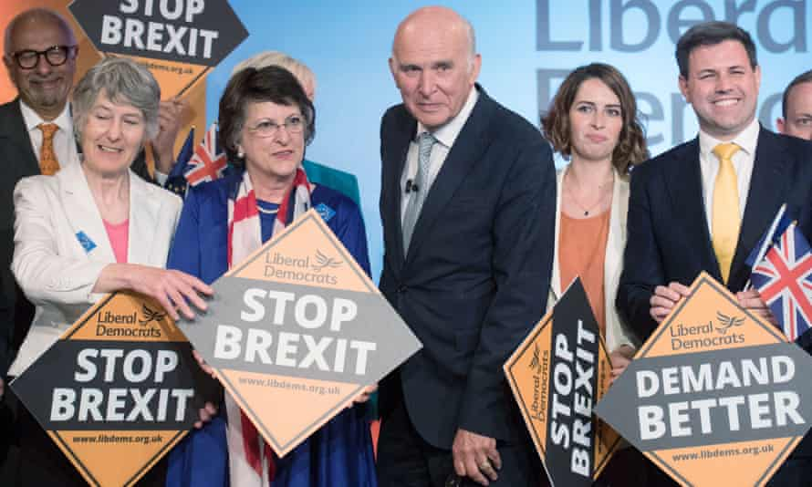 The Lib Dem leader, Vince Cable, and candidates at the launch of the party's European election campaign in London.