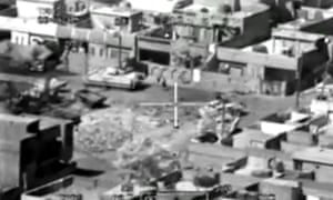 A still from the video, entitled Collateral Murder, which showed an Apache helicopter gunning down a group of Iraqi civilians.