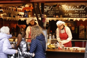 Traders ply their wares at the Christmas market