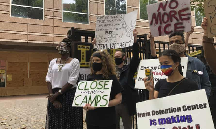 A protest outside the Irwin county detention center in Ocilla, Georgia. Experts and lawyers said the women's lack of consent or knowledge raises severe legal and ethical issues.