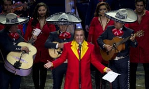 Juan Gabriel, pictured performing in 2012, was known for his outlandish costumes.