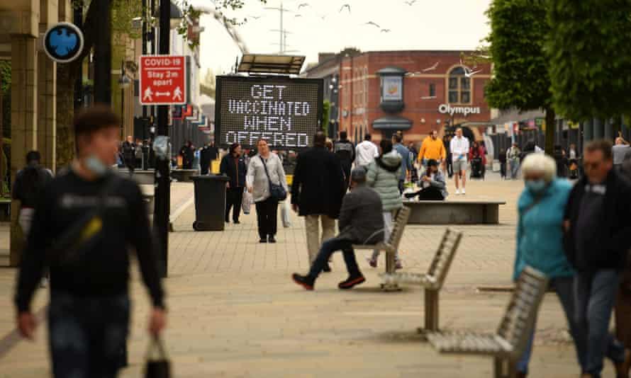 A public health message on a screen in Bolton last week