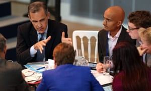 Mark Carney with members of the public during the Future Forum at Birmingham Town Hall on 14 October.