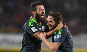 Joe Allen (right) celebrates with Joe Ledley after giving Wales the lead in the 22nd minute in their 2018 World Cup qualifier against Austria in Vienna with a stunning volley