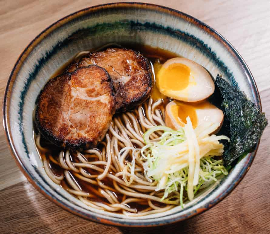 Local twist: Belfast shoyu ramen is made with pork shoulder, rather than belly, to suit the Northern Irish palate.