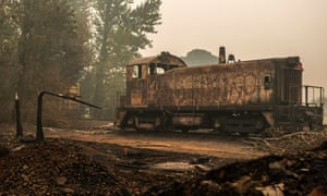 A burned railcar sits abandoned in a lumber yard on Thursday in Sandy, Oregon.