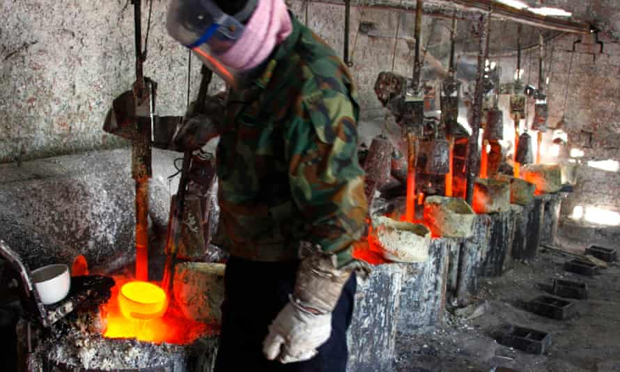 A smelter worker in Damao, Inner Mongolia.